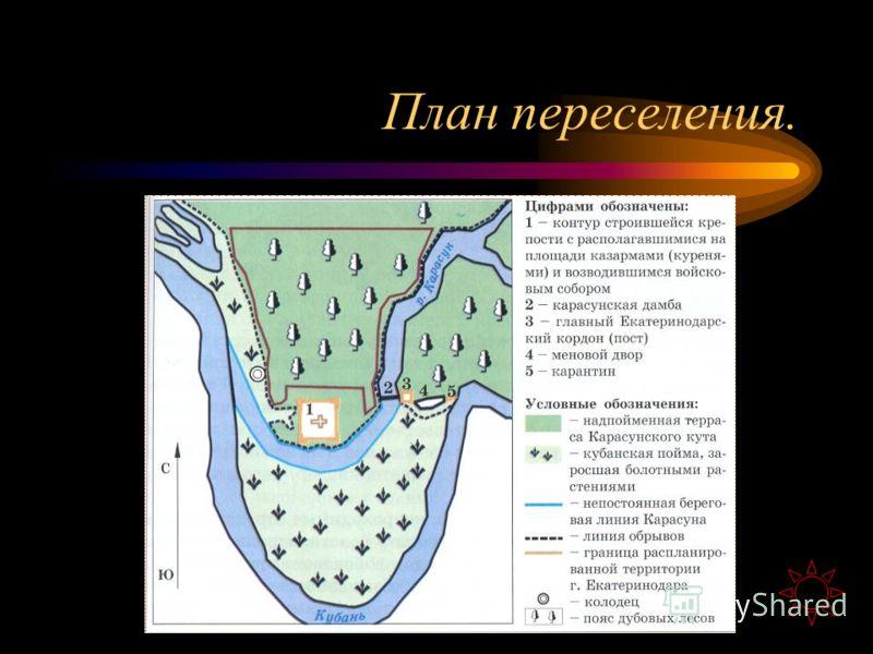 Заселение Кубани После войны с турками Войско стало называться Черноморским, и по жалованной грамоте Екатерины II казакам были выделены для поселения земли на Тамани и Кубани. Тогда же на плечи казаков легли основные организационные хлопоты по пересе