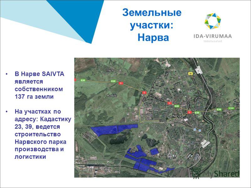 9 Земельные участки: Нарва В Нарве SAIVTA является собственником 137 га земли На участках по адресу: Кадастику 23, 39, ведется строительство Нарвского парка производства и логистики