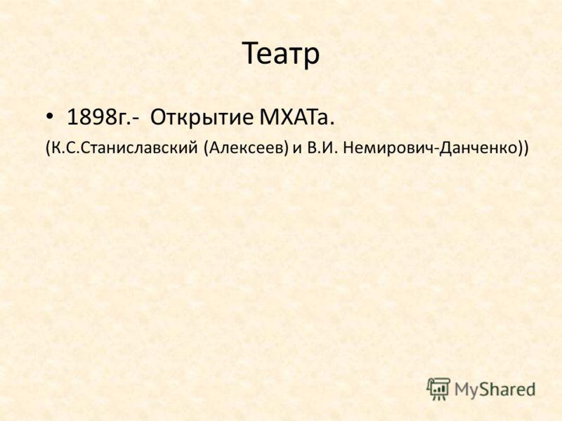 Театр 1898г.- Открытие МХАТа. (К.С.Станиславский (Алексеев) и В.И. Немирович-Данченко))