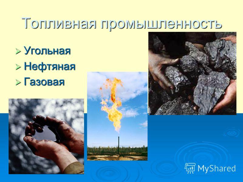 Топливная промышленность Угольная Угольная Нефтяная Нефтяная Газовая Газовая