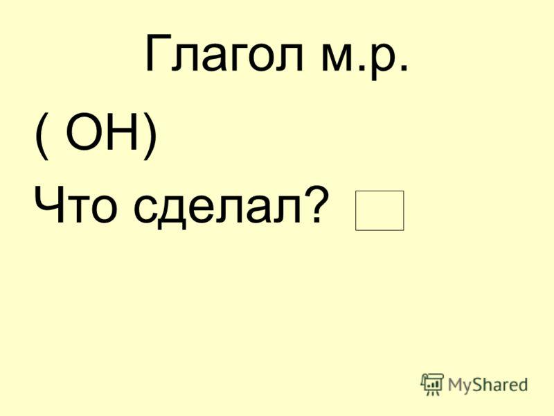 Глагол м.р. ( ОН) Что сделал?