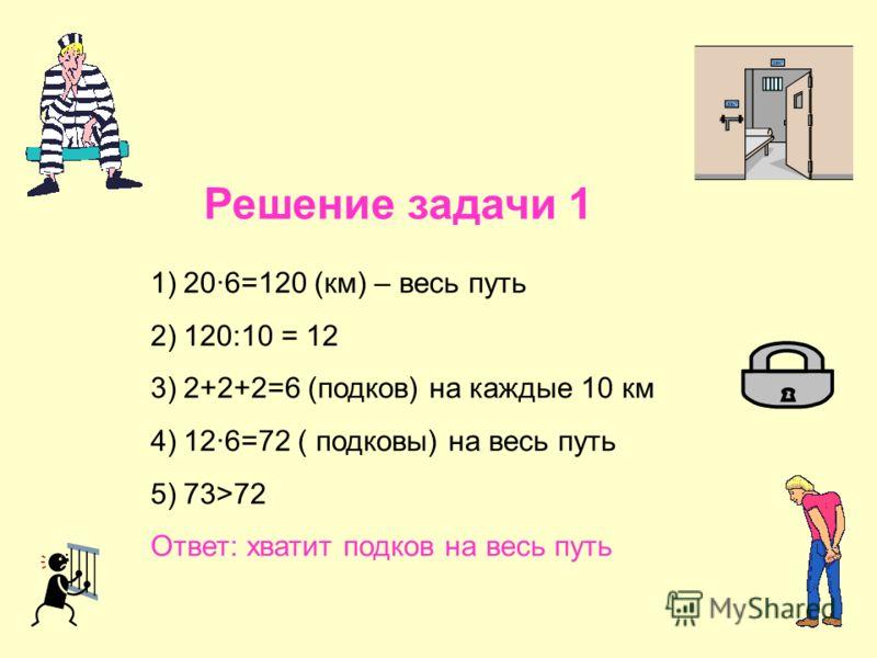 Решение задачи 1 1)20·6=120 (км) – весь путь 2)120:10 = 12 3)2+2+2=6 (подков) на каждые 10 км 4)12·6=72 ( подковы) на весь путь 5)73>72 Ответ: хватит подков на весь путь