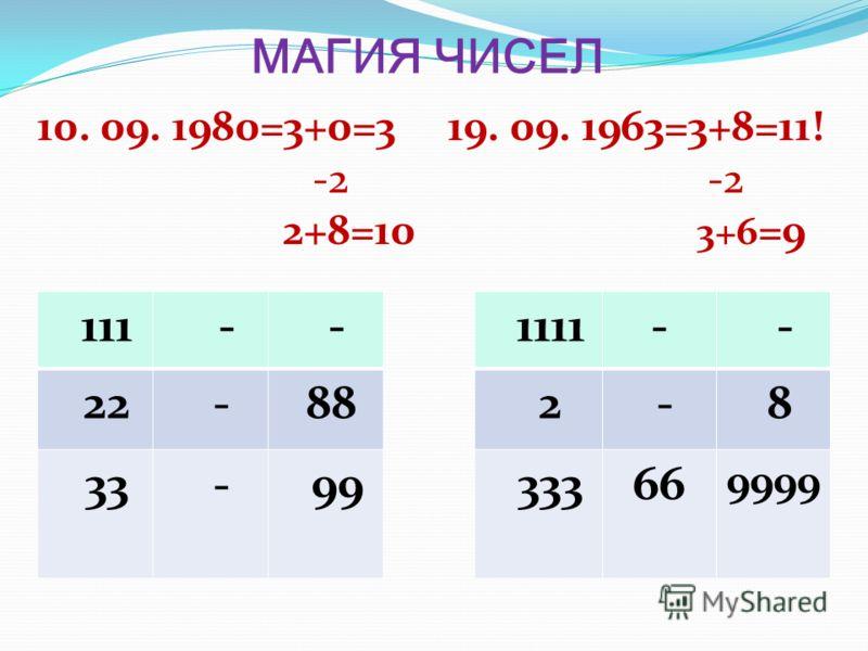 МАГИЯ ЧИСЕЛ 10. 09. 1980=3+0=3 19. 09. 1963=3+8=11! -2 -2 2+8=10 3+6 =9 111 - - 22 - 88 33 - 99 1111- - 2 - 8 33366 9999