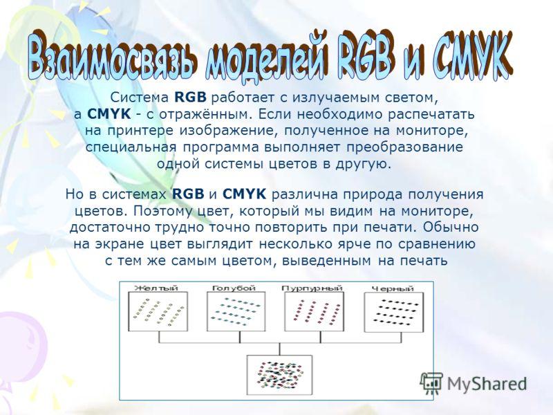 Система RGB работает с излучаемым светом, а CMYK - с отражённым. Если необходимо распечатать на принтере изображение, полученное на мониторе, специальная программа выполняет преобразование одной системы цветов в другую. Но в системах RGB и CMYK разли