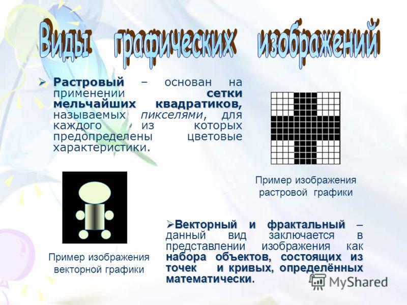 Растровый сетки мельчайших квадратиков Растровый – основан на применении сетки мельчайших квадратиков, называемых пикселями, для каждого из которых предопределены цветовые характеристики. Пример изображения векторной графики Пример изображения растро