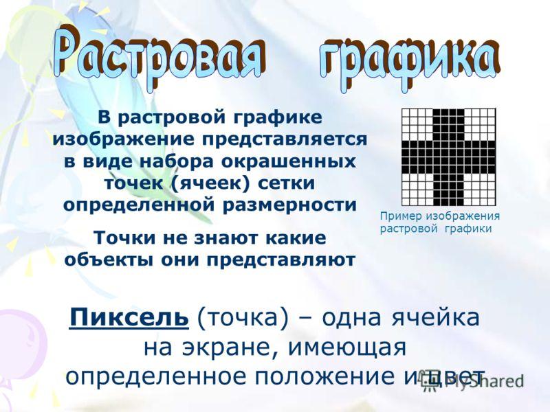 В растровой графике изображение представляется в виде набора окрашенных точек (ячеек) сетки определенной размерности Точки не знают какие объекты они представляют Пиксель (точка) – одна ячейка на экране, имеющая определенное положение и цвет Пример и