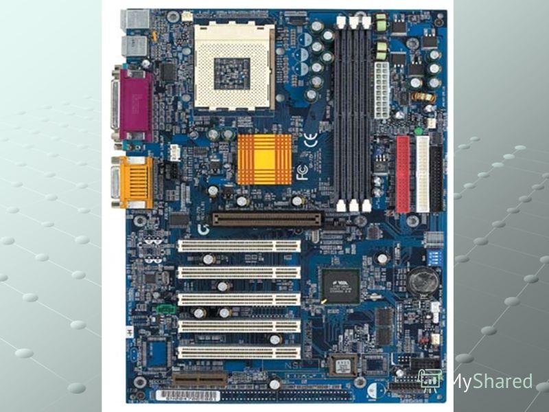 Основные компоненты материнской платы Процессор; Микросхемы ОЗУ; Микросхемы кэш-памяти; Разъемы (слоты) для установки карт расширения; Микросхема ПЗУ; Разъемы для подключения накопителей; Последовательные порты для подключения ПУ; Набор микросхем Chi