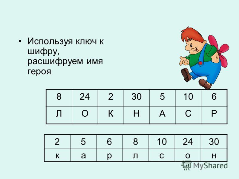 Используя ключ к шифру, расшифруем имя героя 8242305106 ЛОКНАСР 2568 2430 карлсон