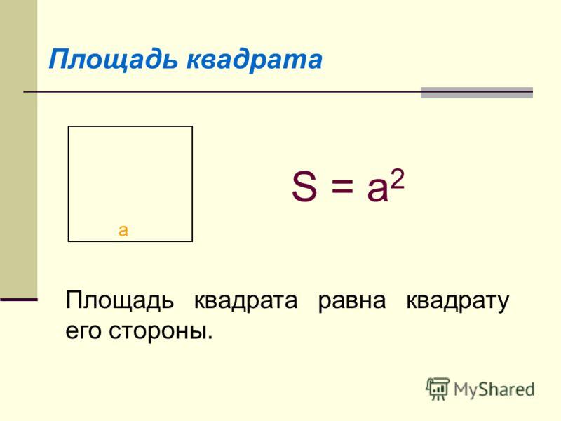 Площадь квадрата a S = a 2 Площадь квадрата равна квадрату его стороны.