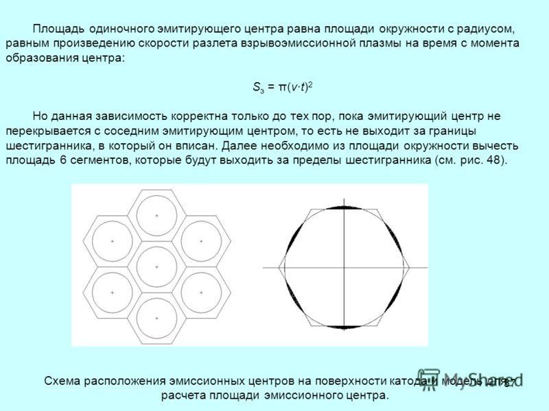 37 Площадь одиночного эмитирующего центра равна площади окружности с радиусом, равным произведению скорости разлета взрывоэмиссионной плазмы на время с момента образования центра: S э = π(v·t) 2 Но данная зависимость корректна только до тех пор, пока