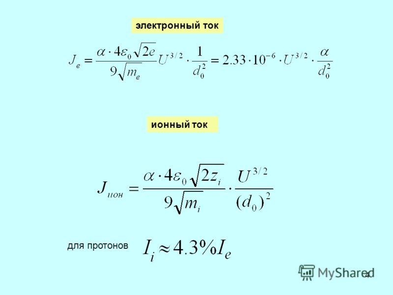 4 электронный ток ионный ток для протонов