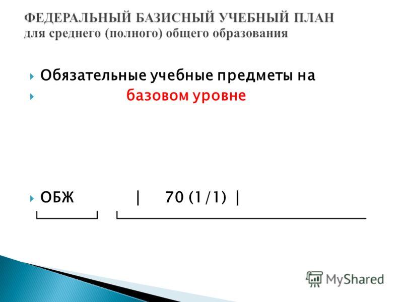 Обязательные учебные предметы на базовом уровне ОБЖ 70 (1/1)