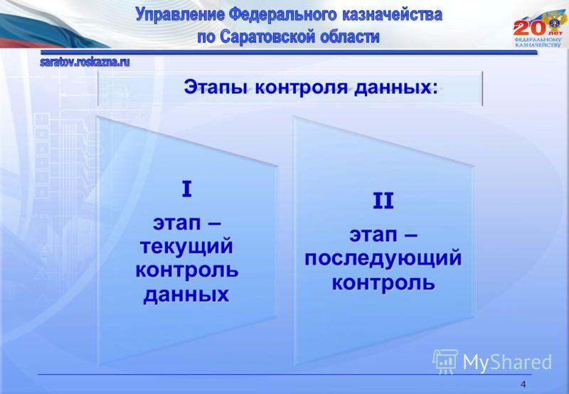 4 Этапы контроля данных: Этапы контроля данных: I этап – текущий контроль данных II этап – последующий контроль