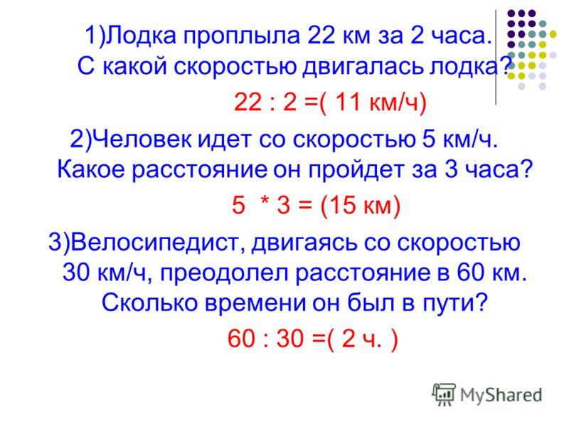 1)Лодка проплыла 22 км за 2 часа. С какой скоростью двигалась лодка? 22 : 2 =( 11 км/ч) 2)Человек идет со скоростью 5 км/ч. Какое расстояние он пройдет за 3 часа? 5 * 3 = (15 км) 3)Велосипедист, двигаясь со скоростью 30 км/ч, преодолел расстояние в 6