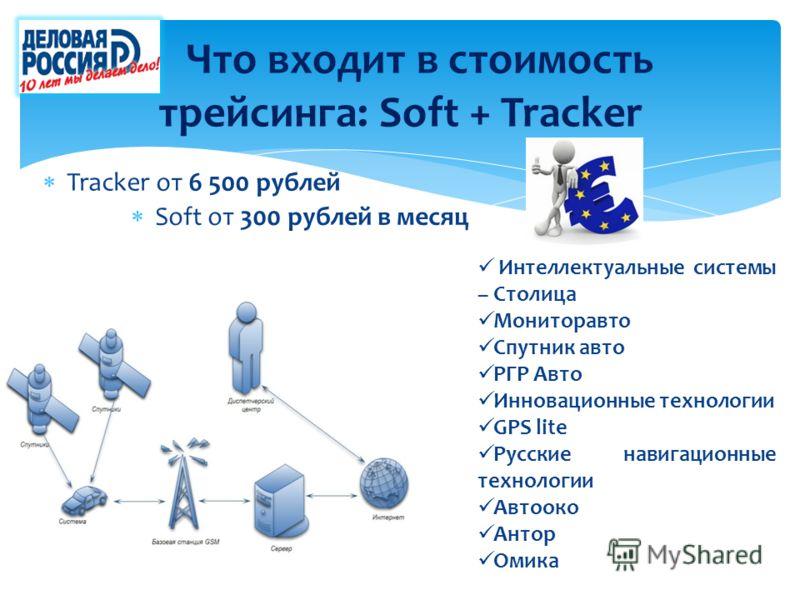 Что входит в стоимость трейсинга: Soft + Tracker Tracker от 6 500 рублей Soft от 300 рублей в месяц Интеллектуальные системы – Столица Мониторавто Спутник авто РГР Авто Инновационные технологии GPS lite Русские навигационные технологии Автооко Антор