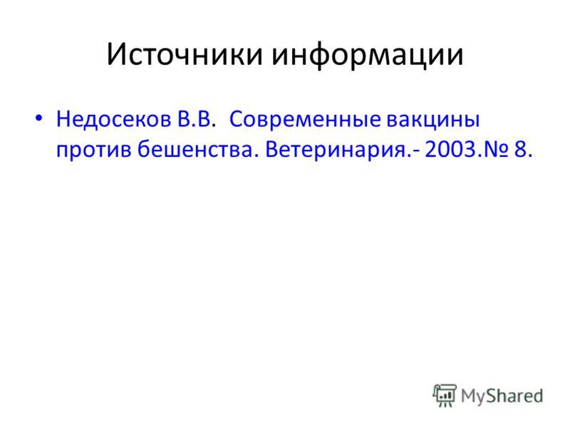 Источники информации Недосеков В.В. Современные вакцины против бешенства. Ветеринария.- 2003. 8.