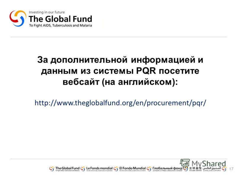 За дополнительной информацией и данным из системы PQR посетите вебсайт (на английском): http://www.theglobalfund.org/en/procurement/pqr/ 17