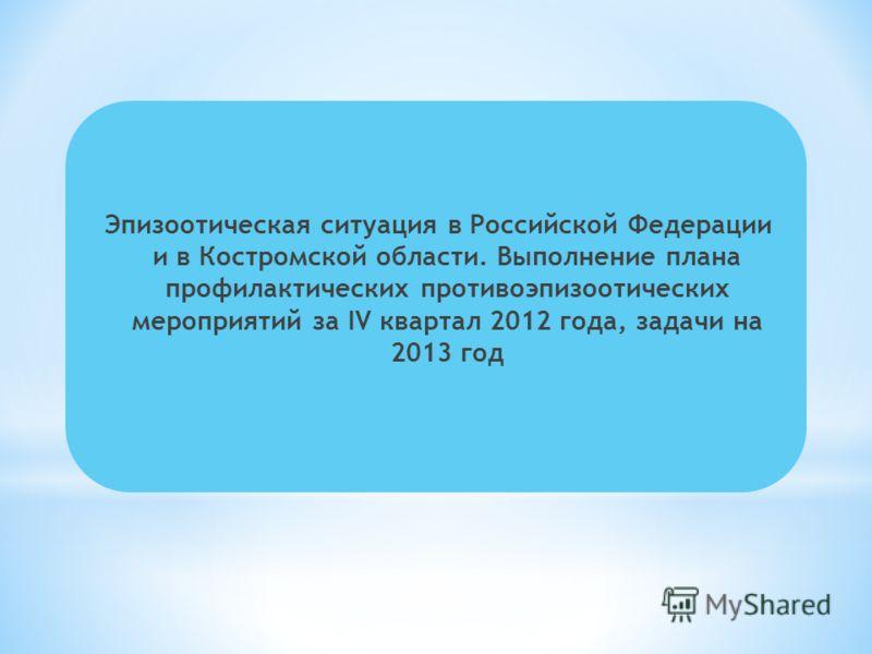 Эпизоотическая ситуация в Российской Федерации и в Костромской области. Выполнение плана профилактических противоэпизоотических мероприятий за IV квартал 2012 года, задачи на 2013 год