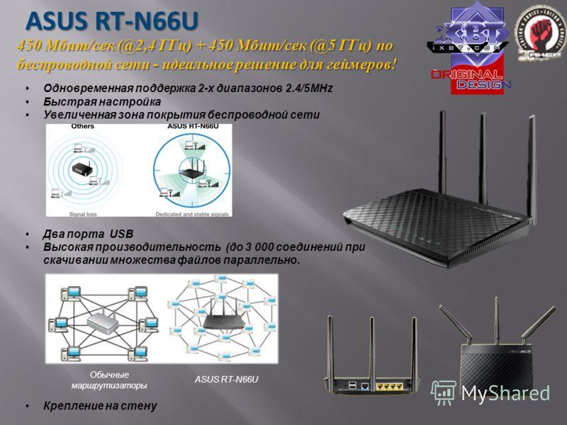 Одновременная поддержка 2-х диапазонов 2.4/5MHz Быстрая настройка Увеличенная зона покрытия беспроводной сети Два порта USB Высокая производительность (до 3 000 соединений при скачивании множества файлов параллельно. Крепление на стену 450 Мбит/сек (