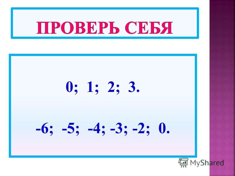 0; 1; 2; 3. -6; -5; -4; -3; -2; 0.