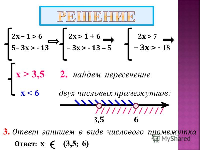 2 х – 1 > 6 2 х > 1 + 6 2 х > 7 5– 3 х > - 13 – 3 х > - 13 – 5 – 3 х > - 18 х > 3,5 2. найдем пересечение х < 6 двух числовых промежутков: ///////////// 3,5 6 3. Ответ запишем в виде числового промежутка Ответ : х (3,5 ; 6)