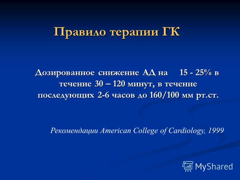 Правило терапии ГК Дозированное снижение АД на 15 - 25% в течение 30 – 120 минут, в течение последующих 2-6 часов до 160/100 мм рт.ст. Дозированное снижение АД на 15 - 25% в течение 30 – 120 минут, в течение последующих 2-6 часов до 160/100 мм рт.ст.