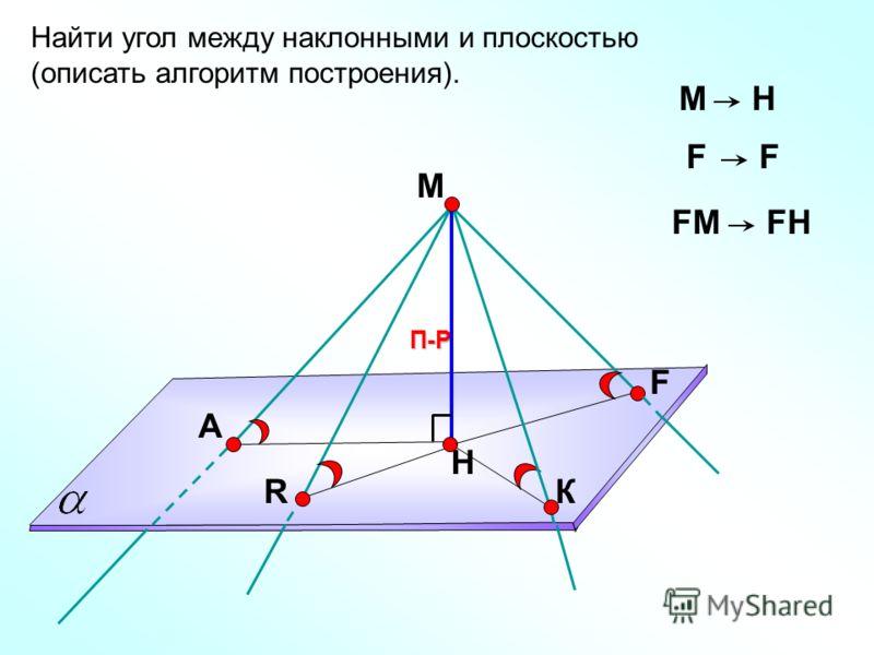 Найти угол между наклонными и плоскостью (описать алгоритм построения). А F R П-Р Н МH FF FМFМFH К М