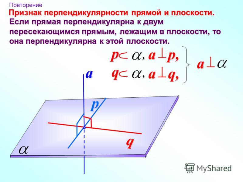 q p a a p, p, a q, q, Признак перпендикулярности прямой и плоскости. a Повторение Если прямая перпендикулярна к двум пересекающимся прямым, лежащим в плоскости, то она перпендикулярна к этой плоскости.