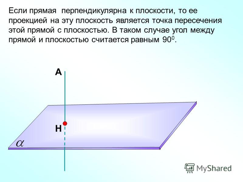 А Н Если прямая перпендикулярна к плоскости, то ее проекцией на эту плоскость является точка пересечения этой прямой с плоскостью. В таком случае угол между прямой и плоскостью считается равным 90 0.