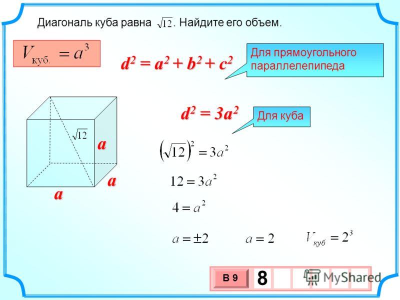 Диагональ куба равна. Найдите его объем. 3 х 1 0 х В 9 8a a a Для прямоугольного параллелепипеда d 2 = a 2 + b 2 + c 2 d 2 = 3a 2 Для куба