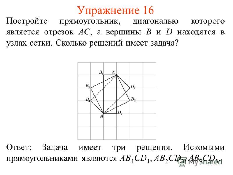 Упражнение 16 Постройте прямоугольник, диагональю которого является отрезок AC, а вершины B и D находятся в узлах сетки. Сколько решений имеет задача? Ответ: Задача имеет три решения. Искомыми прямоугольниками являются AB 1 СD 1, AB 2 СD 2, AB 3 СD 3