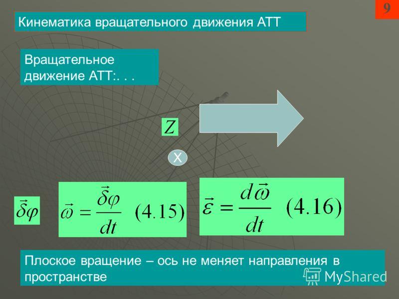 9 Кинематика вращательного движения АТТ Х Вращательное движение АТТ:... Плоское вращение – ось не меняет направления в пространстве