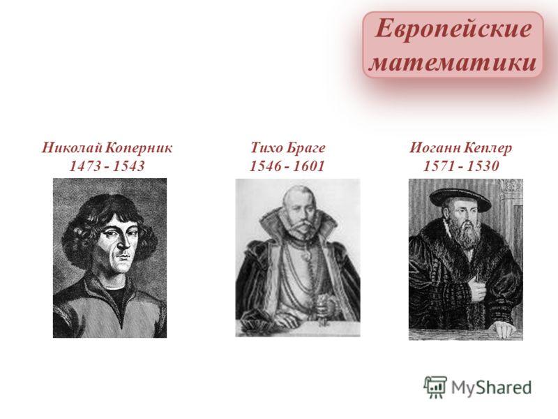 Николай Коперник 1473 - 1543 Тихо Браге 1546 - 1601 Иоганн Кеплер 1571 - 1530 Европейские математики