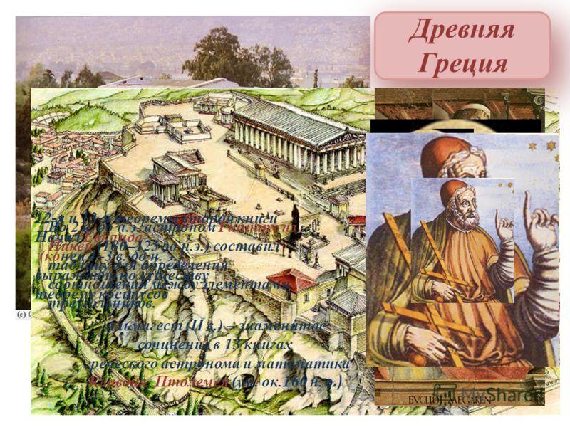 12-я и 13-я теоремы второй книги Начал Евклида (конец 4–3 в. до н. э.) выражают по существу теорему косинусов Древняя Греция Во 2 в. до н.э. астроном Гиппарх из Никеи (180–125 до н.э.) составил таблицу для определения соотношений между элементами тре