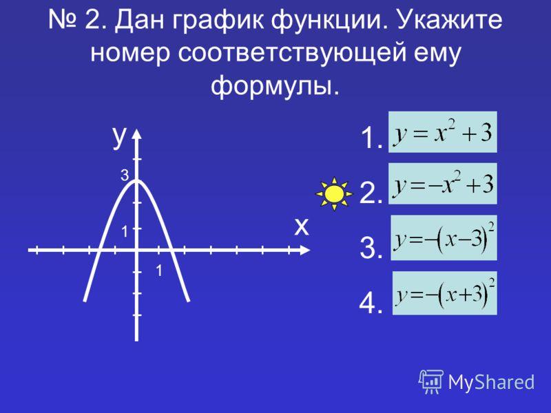 2. Дан график функции. Укажите номер соответствующей ему формулы. 1. 2. 3. 4. у х 1 1 3
