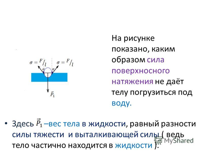 Здесь –вес тела в жидкости, равный разности силы тяжести и выталкивающей силы ( ведь тело частично находится в жидкости ). На рисунке показано, каким образом сила поверхносного натяжения не даёт телу погрузиться под воду.