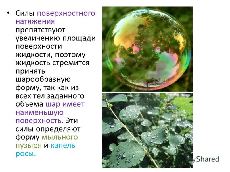 Силы поверхностного натяжения препятствуют увеличению площади поверхности жидкости, поэтому жидкость стремится принять шарообразную форму, так как из всех тел заданного объема шар имеет наименьшую поверхность. Эти силы определяют форму мыльного пузыр