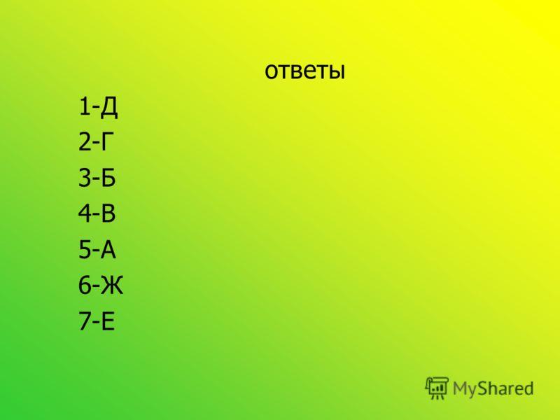 ответы 1-Д 2-Г 3-Б 4-В 5-А 6-Ж 7-Е