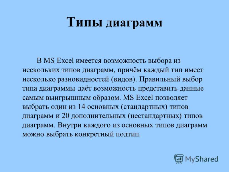 Типы диаграмм В MS Excel имеется возможность выбора из нескольких типов диаграмм, причём каждый тип имеет несколько разновидностей (видов). Правильный выбор типа диаграммы даёт возможность представить данные самым выигрышным образом. MS Excel позволя