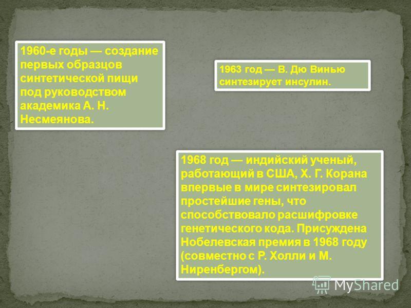 1960-е годы создание первых образцов синтетической пищи под руководством академика А. Н. Несмеянова. 1963 год В. Дю Винью синтезирует инсулин. 1968 год индийский ученый, работающий в США, X. Г. Корана впервые в мире синтезировал простейшие гены, что