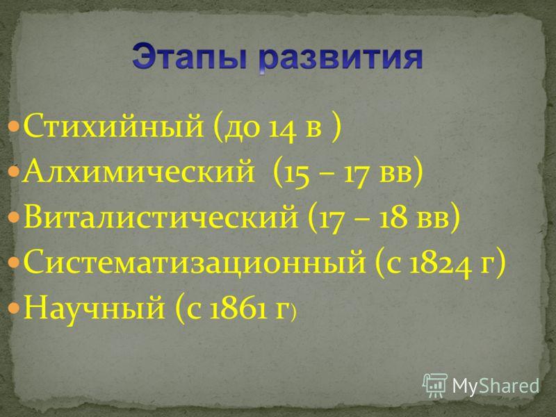 Стихийный (до 14 в ) Алхимический (15 – 17 вв) Виталистический (17 – 18 вв) Систематизационный (с 1824 г) Научный (с 1861 г )
