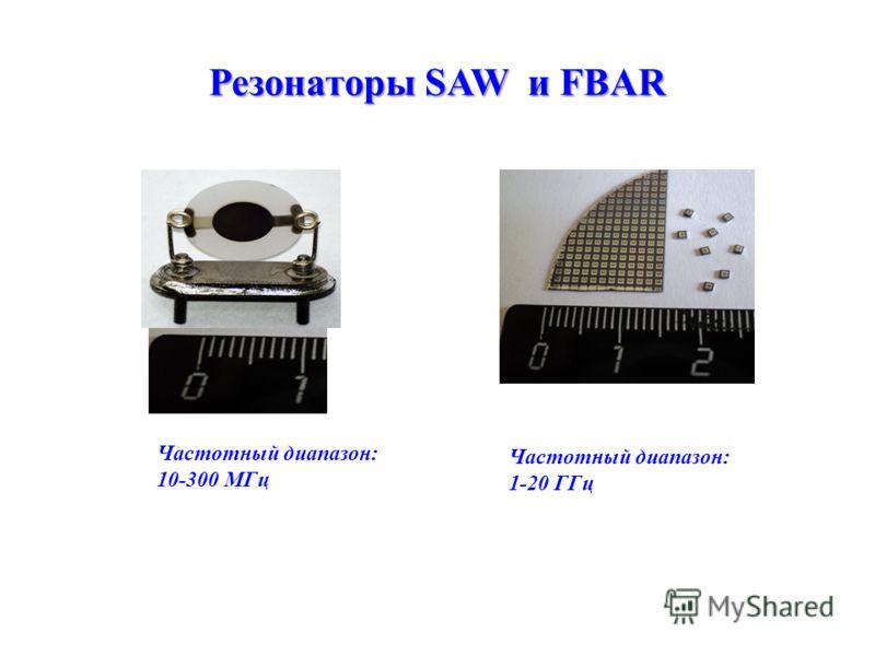 Резонаторы SAW и FBAR Частотный диапазон: 10-300 МГц Частотный диапазон: 1-20 ГГц