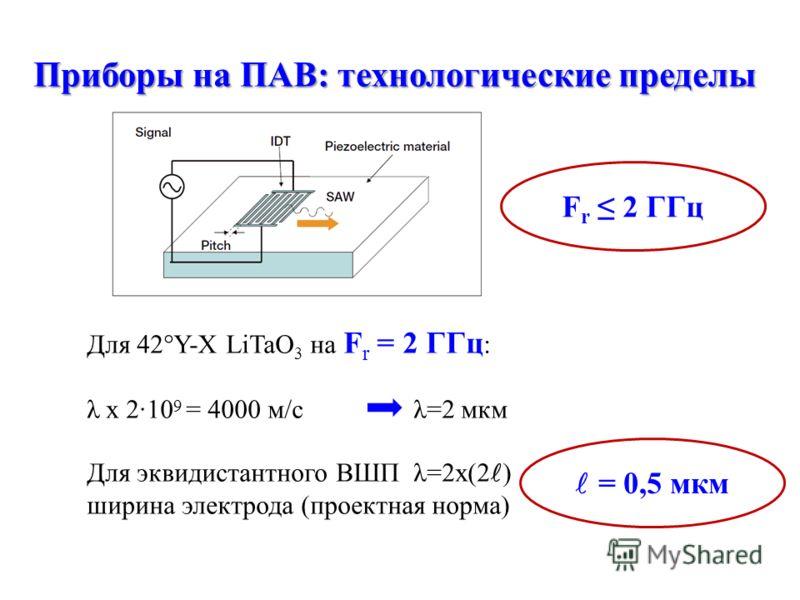 Для 42°Y-X LiTaO 3 на F r = 2 ГГц : λ х 210 9 = 4000 м/с λ=2 мкм Для эквидистантного ВШП λ=2х(2 ) ширина электрода (проектная норма) Приборы на ПАВ: технологические пределы F r 2 ГГц = 0,5 мкм