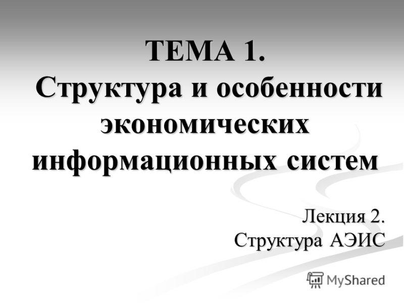 ТЕМА 1. Структура и особенности экономических информационных систем Лекция 2. Структура АЭИС