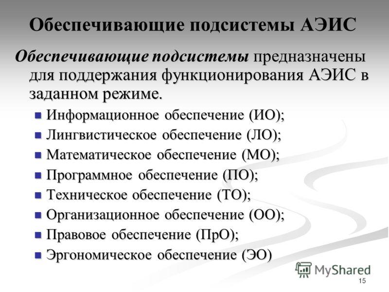 15 Обеспечивающие подсистемы АЭИС Обеспечивающие подсистемы предназначены для поддержания функционирования АЭИС в заданном режиме. Информационное обеспечение (ИО); Информационное обеспечение (ИО); Лингвистическое обеспечение (ЛО); Лингвистическое обе