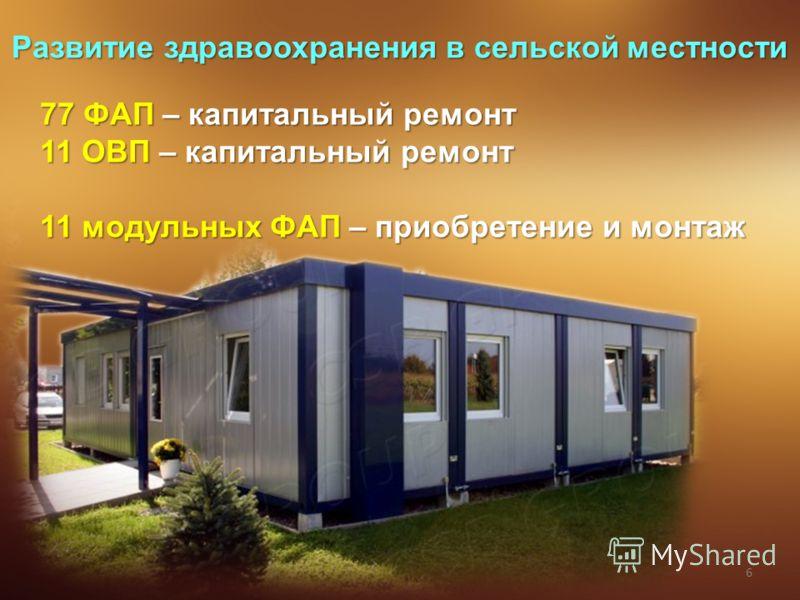 6 Развитие здравоохранения в сельской местности 77 ФАП – капитальный ремонт 11 ОВП – капитальный ремонт 11 модульных ФАП – приобретение и монтаж