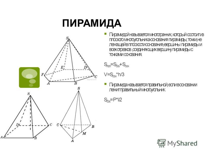 ПИРАМИДА Пирамидой называется многогранник, который состоит из плоского многоугольника-основания пирамиды, точки, не лежащей в плоскости основания,-вершины пирамиды и всех отрезков,соединяющих вершину пирамиды с точками основания. S пол = S бок + S о