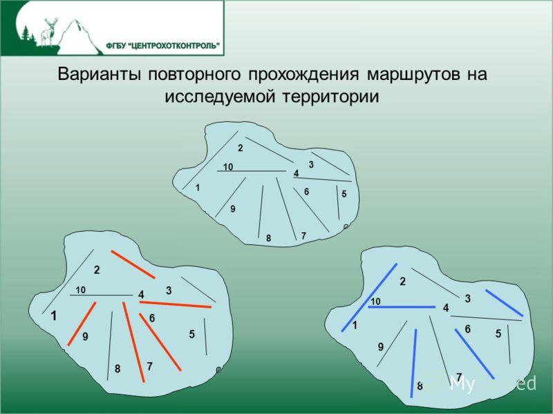 1 10 2 9 8 6 7 4 5 3 1 2 9 8 6 7 4 5 3 1 2 9 8 6 7 4 5 3 Варианты повторного прохождения маршрутов на исследуемой территории