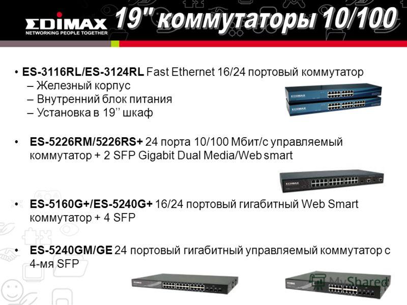 ES-3116RL/ES-3124RL Fast Ethernet 16/24 портовый коммутатор –Железный корпус –Внутренний блок питания –Установка в 19 шкаф ES-5226RM/5226RS+ 24 порта 10/100 Мбит/с управляемый коммутатор + 2 SFP Gigabit Dual Media/Web smart ES-5160G+/ES-5240G+ 16/24