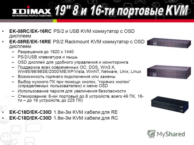 EK-08RC/EK-16RC PS/2 и USB KVM коммутатор с ОSD дисплеем EK-08RE/EK-16RE PS/2 Rackmount KVM коммутатор с OSD дисплеем –Разрешения до 1920 x 1440 –PS/2/USB клавиатура и мышь –OSD дисплей для удобного управления и мониторинга –Поддержка всех современны